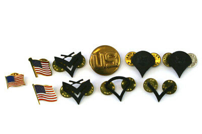 Lot of 10 US Military Rank Collectible Pins & Enamel American Flag Pins