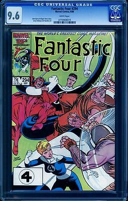 Fantastic Four 294 CGC 9.6, Perfect cover align A++, John Byrne art