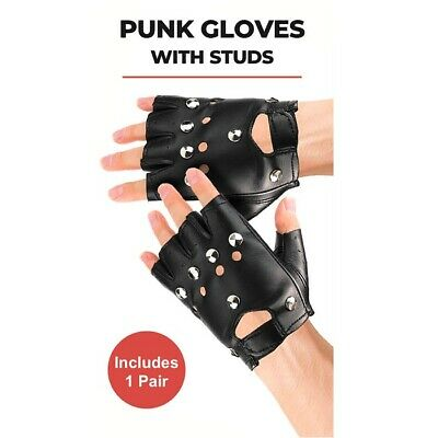 Studded Fingerless Black Faux Leather Punk Gloves Biker 80's Fancy Dress 18590