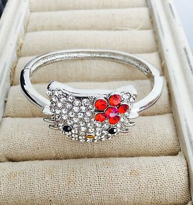 Beautiful Silver Band Swarovski Crystal Hello Kitty with Ruby Red Bow