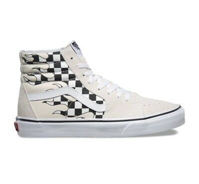 2bbc6af60f5 Vans Sk8 Hi Checker Flame Board Classic White Mens and Kids Size  Checkerboard