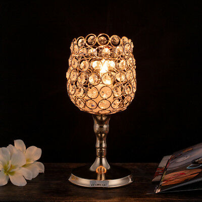 New Luxury Round LED Crystal Table Lamp Diamond Cup Holder Desk Lighting Decor