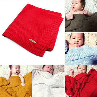 7 Colors Baby Kids Organic Cotton Knitted Blanket Cover Boys Girls Sleeping Wrap
