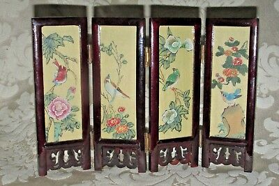 Asian Japanese Miniature 4 Fold SCREEN Exotic Birds & Mountain Landscape View