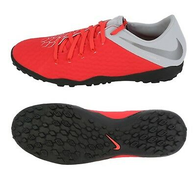 cfdabc721 Nike Men Hypervenom 3 Phantom TF Cleats Futsal Silver Spike Cleats  AJ3815-600