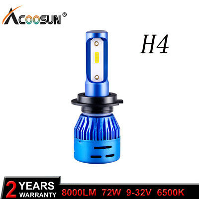 1PCS H4/9003 8000LM 6000K Car COB LED Car Headlight Bulb Hi/Lo Beam White