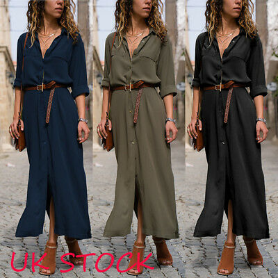 UK Women Button Long Sleeve Loose Chiffon Shirt Dress Oversized Maxi Tea Dress
