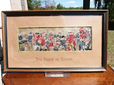 """Superb rare Antique 19th century Stevengraph """"The Death Of Nelson"""" period framed"""