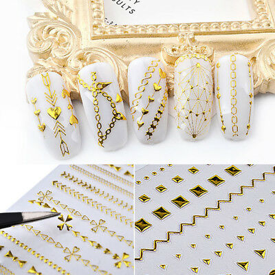 Gold 3D Nail Stickers Geometric Stripes Wave Line Nail Art Decoration Manicure