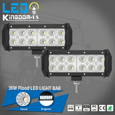 2x 7INCH 36W LED WORK LIGHT BAR Flood OFFROAD ATV FOG TRUCK LAMP 4WD 12V 24V 6""