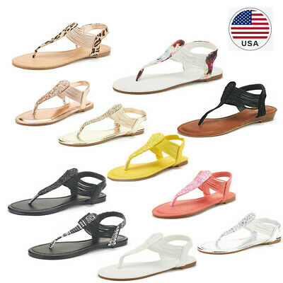 DREAM PAIRS Womens T-Strap Flat Sandals