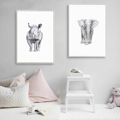 Black White Animal Canvas Art Print Oil Painting Wall Picture Poster Home Decor