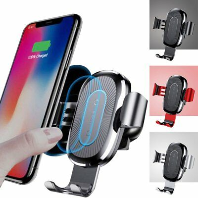 Baseus 10W Qi Wireless Charger Car Air Vent Mount Holder For iPhone X Samsung S8
