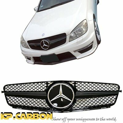 Fit For 12-14 BENZ W204 C204 C300 C350 Jet Glossy Black Base Cover Front Grille