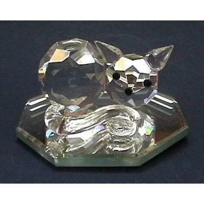 Cut Glass Sleeping Cat on Mirror Figurine- Collectible Crystal Ornament