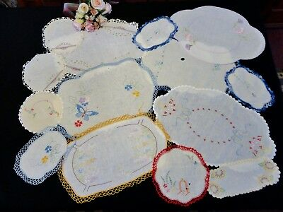 Vintage Hand Embroidered Doilies Craft Use  14 Items