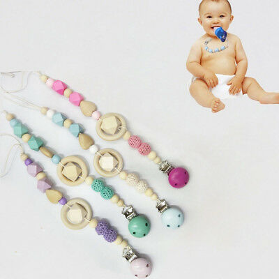 Baby Kids Wooden Beaded Pacifier Holder Clip Nipple Teether Dummy Strap Chain A+