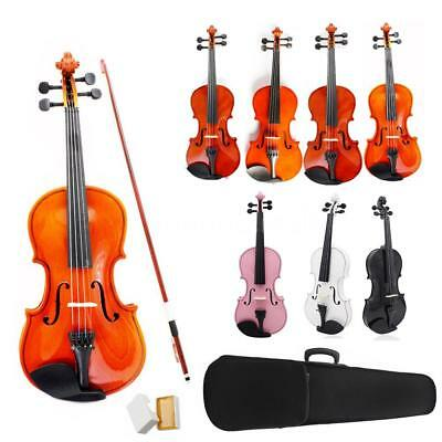 1/4 3/4 4/4 1/8 1/2 Natural Acoustic Violin Kit + Case + Bow for Beginner S8Z4