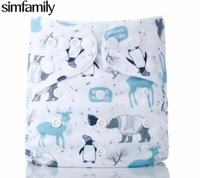 1PC Reusable One Size Pocket Cloth Diaper Waterproof Cartoon Animals Soft baby N