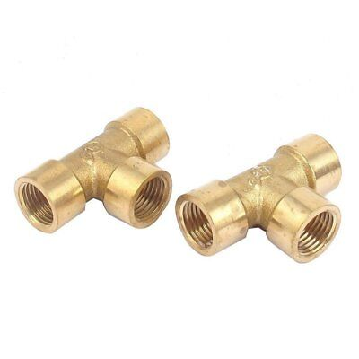 2pcs 1/4inch BSP Thread Equal 3 Way Tee Coupling Brass Pipe Adapter F9V9