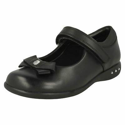 Clarks Prime Skip Black Leather Girls Shoes UK Sizes 13 to 2.5 F Fit (KRC)
