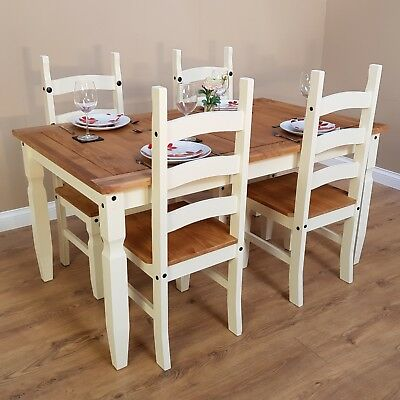 "Corona Cream 5'0"" Dining Table & 4 Chairs Set Painted by Mercers Furniture®"