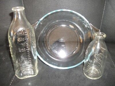PYREX Bottles x 2 and Bowl