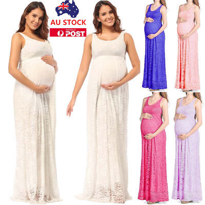 Pregnant Women Lace Sleeveless Long Maxi Dress Maternity Photography Photo Props