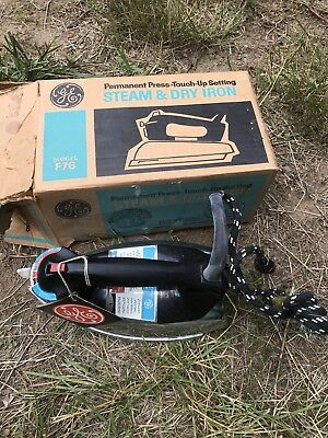 Vintage GE Deluxe Spray Steam & Dry Iron w/Box Model F76 - NEVER USED