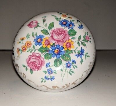 Antique Floral Hand Painted Porcelain Door Knobs Victorian Flowers Gold filigree
