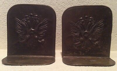 Brass Repousse Metal Bookends Vintage Handcrafted Double Headed Eagle