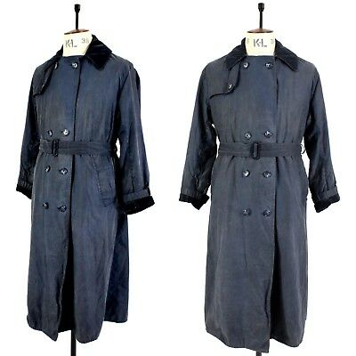 Men's Navy Blue BARBOUR TRENCH COAT Waxed Cotton Outdoor Long Belted Jacket 38
