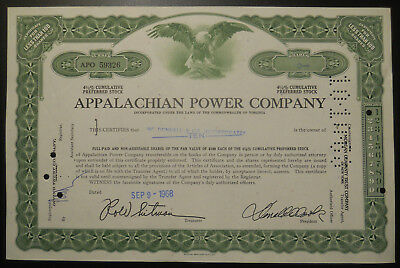 Appalachian Power Company Preferred Stock Certificate - less than 100 shares
