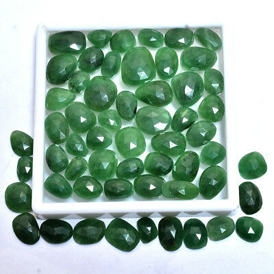 249 Ct/58 Pcs 100% Natural Untreated Green Serpentine Checker Cut Gemstones Lot