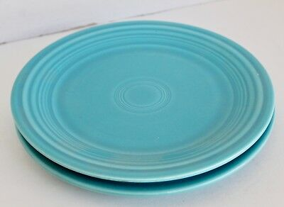 "2 Vintage TURQUOISE BLUE FIESTA WARE DINNER PLATES Original Color 9.5"" 1936-72"