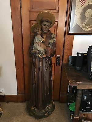 Life Size Wooden Antique Wall Hanging Statue Of Saint Anthony Rare