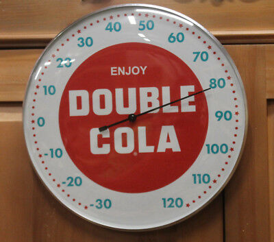 "Double Cola Thermometer 12"" Round Glass Dome Sign Vintage Style Man Cave"
