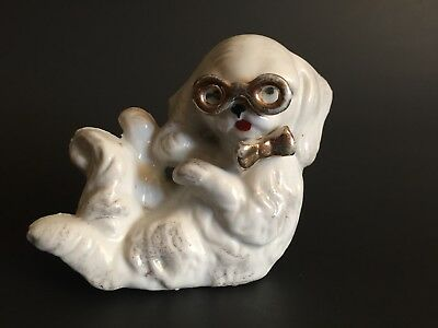 Vintage Anthropomorphic Pekingese Dog Ceramic Figurine Glasses Made in Japan