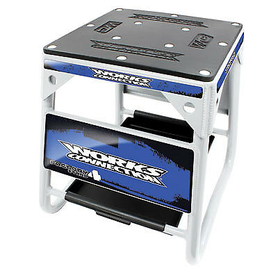 Works Connection Factory 4 Stand White w/Blue Decals-Motorcycle-Yamaha-Husqvarna