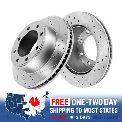 FRONT DRILLED & Slotted Brake Rotors For Ford E350 E450 Dually