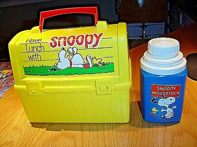 Vtg Snoopy & Woodstock (Peanuts) Lunchbox + Thermos Schulz Cartoon Excellent