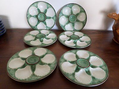 6 assiettes à huitres barbotine / 6 French majolica oyster plates