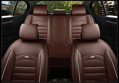 Car Seat Cover Size M PU Leather 5-Seat Front & Rear Cushion W/pillows Browns