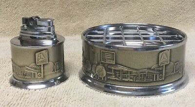 CITGO Oil and Gas Advertising Table Top Butane Lighter and Matching Ashtray