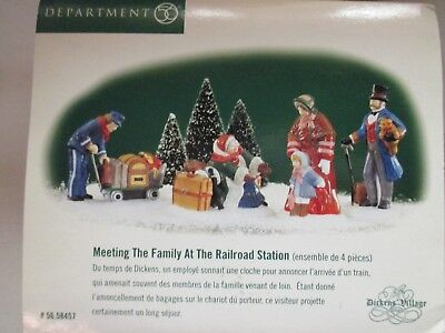 """Dept 56 Dickens Village """"Meeting The Family At The Railroad Station"""" Set of 4"""