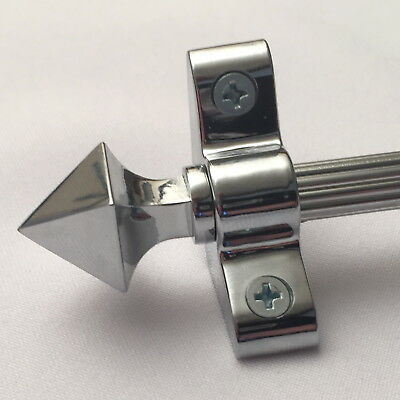 POLISHED CHROME 3/8 x 36 INCH REED STAIR  ROD PYRAMID FINIAL (R03LREPY)