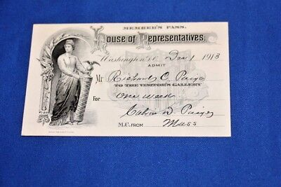 Vintage Signed House of Representatives Member's Pass 1913  Massachusetts