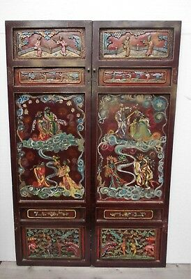 Two great panels antique wooden carved China lacquered polychrome