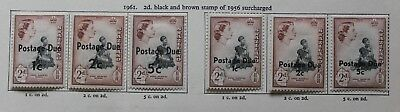 Swaziland 1961 - 1956 2d Surcharged Postage Due Set of 6 D7-D12 Mounted Mint
