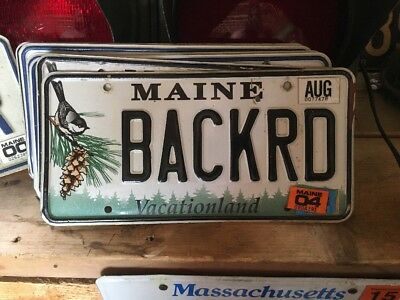 Vintage Vanity Maine License Plate BACKRD Back Road Chickadee Pinecone